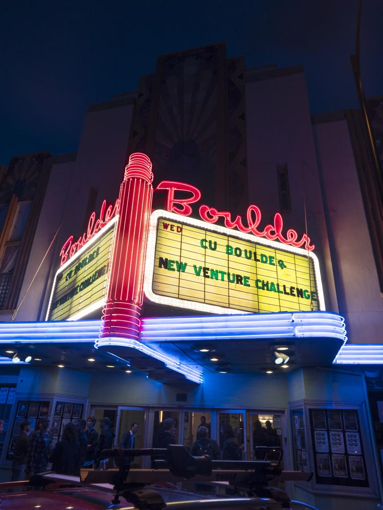 boulder theater sign at night