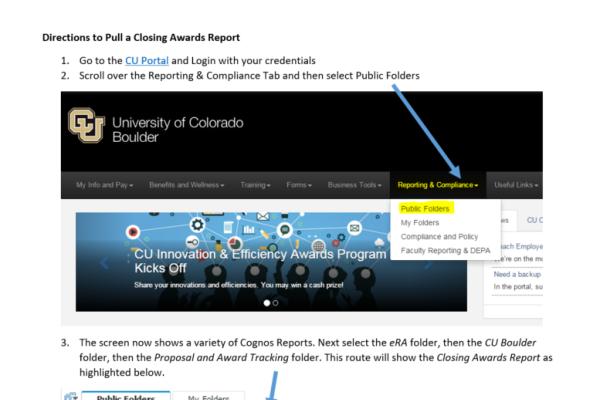 award closeout guide screen grab