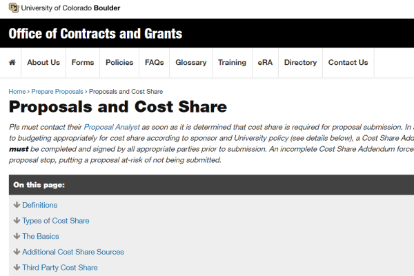 Proposals and Cost Share