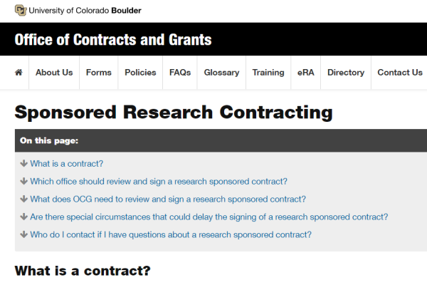Sponsored Research Contracting screen grab
