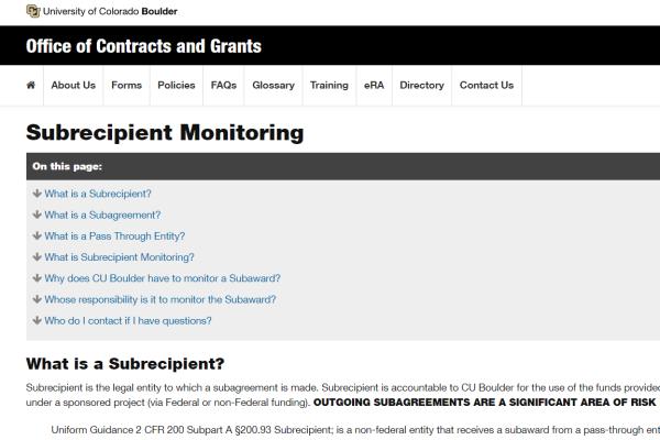 Subrecipient Monitoring screen grab