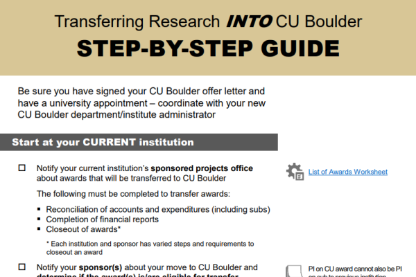 Transferring Research INTO CU Boulder Step-by-step guide