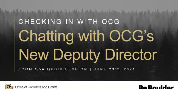 Chatting with OCG's New Deputy Director