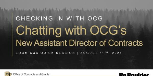 Chatting with OCG's New Assistant Director of Contracts