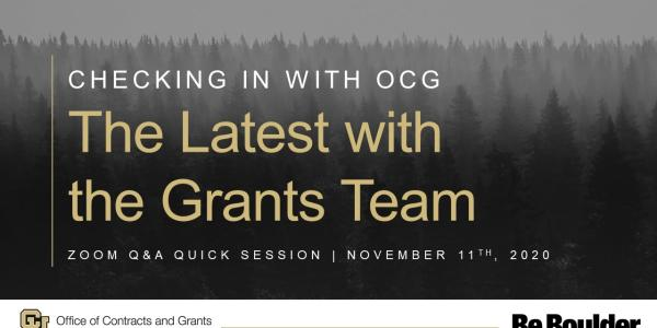 Checking In with OCG The Latest with the Grants Team
