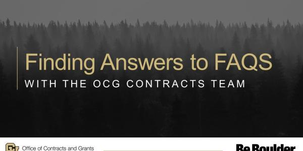 Finding Answers to FAQs with the OCG Contracts Team