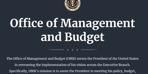 Office of Management and Budget homepage screen