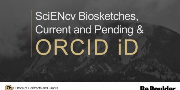 SciENcv Biosketches, Current and Pending and ORCID ID