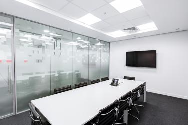 photo of a meeting room no people