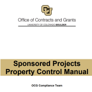 Sponsored Projects Property Control Manual title page