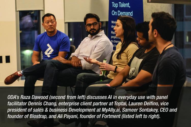 Image: ODA's Raza Dawood (second from left) discusses AI in everyday use with panel facilitator Dennis Chang, enterprise client partner at Toptal, Lauren Delfino, vice president of sales & business Development at MyAlly.ai, Sameer Sontakey, CEO and founder of Biostrap, and Ali Payani, founder of Fortment (listed left to right).