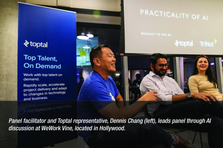 Image: Panel facilitator and Toptal representative, Dennis Chang, leads panel through AI discussion at WeWork Vine, located in Hollywood.