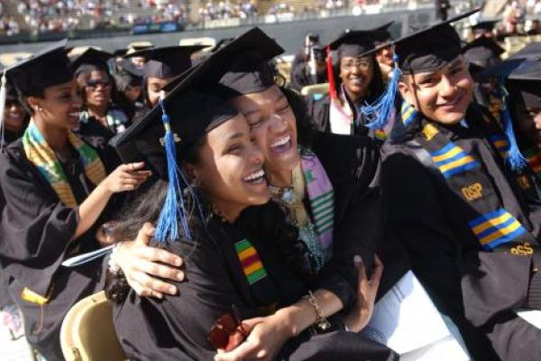 Students rejoicing on graduation day.