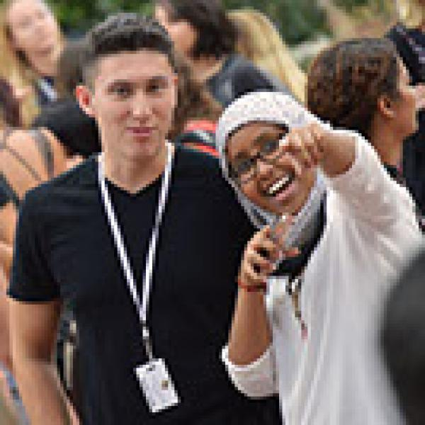 Male and Female Students posing for picture during summer gathering