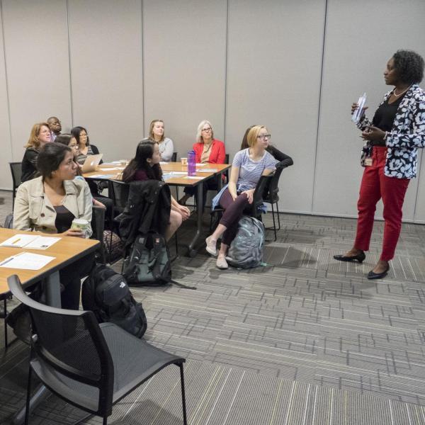 A presenter talking to participants