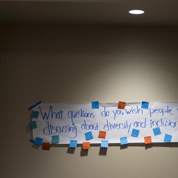"""A banner that reads """"what questions do you wish people were discussing about diversity and inclusion at CU?"""""""