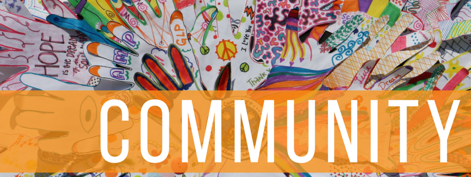 Community image with hands in different colors