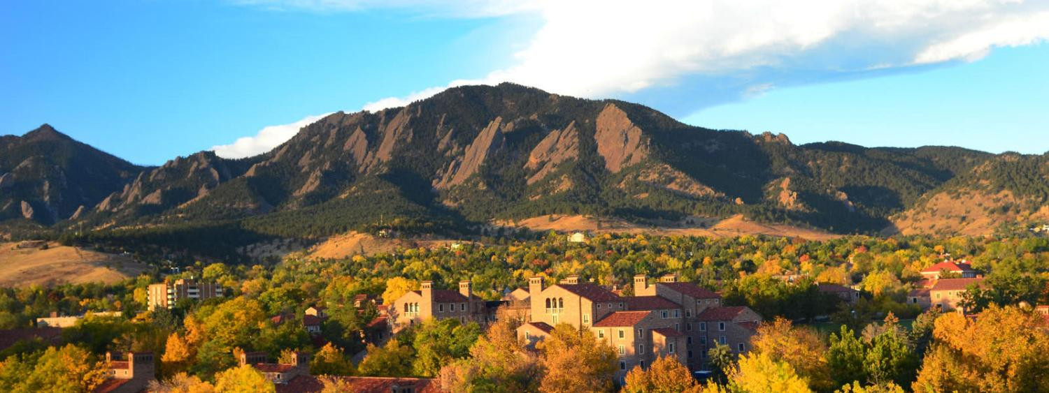Looking out over campus to the flatirons on a fall day.