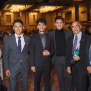 Sonia DeLuca Fernández, three Denver Scholarship Foundation students, Chris Pacheco and Bob Boswell at the DSF gala