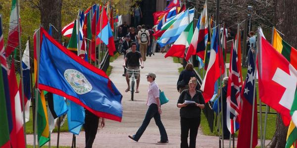 Flags lining Norlin quad during Conference on World Affairs