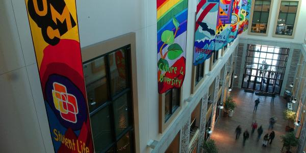 Flags flying in the University Memorial Center
