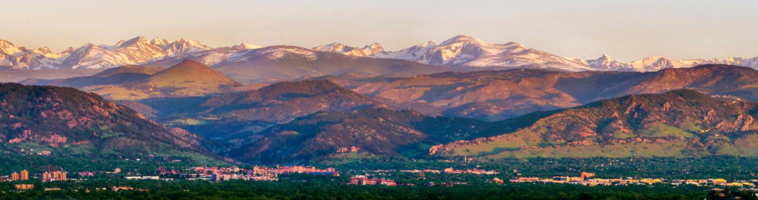 Looking over CU Boulder campus and mountains beyond from Davidson Mesa