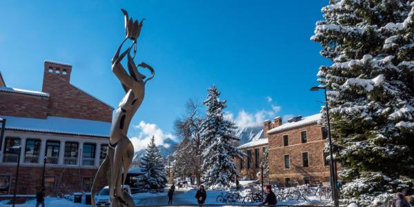 UMC fountain area blanketed with snow.