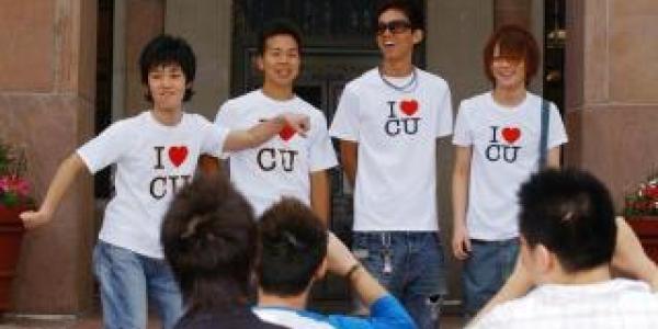 international students in I heart CU shirts