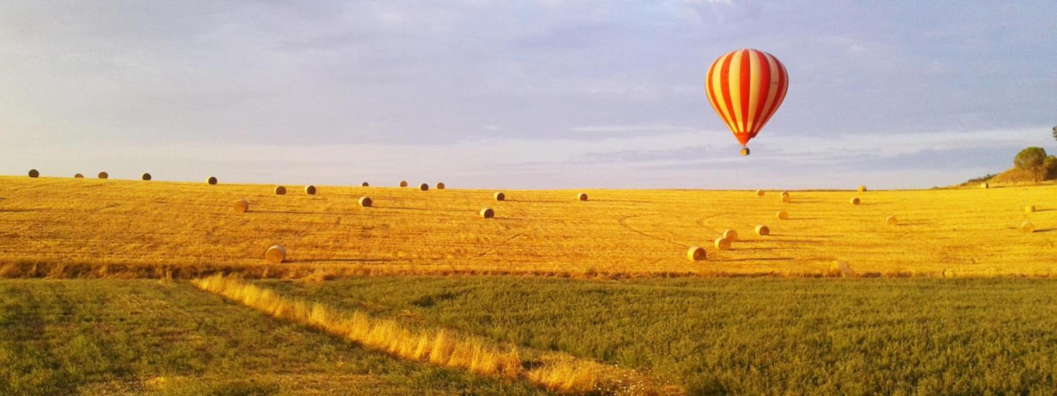 Hot air balloon taking off over a hay field