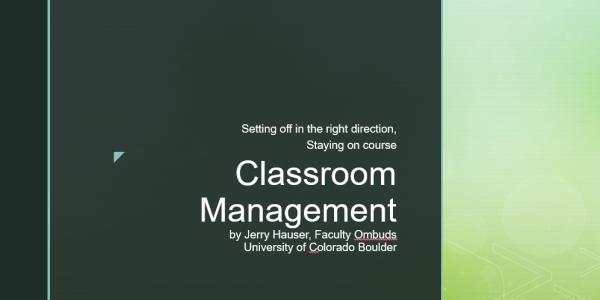 Classroom Management Title Slide