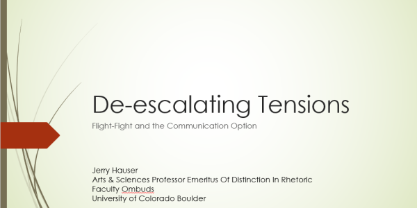 Cover slide for presentation on De-escalating Tensions