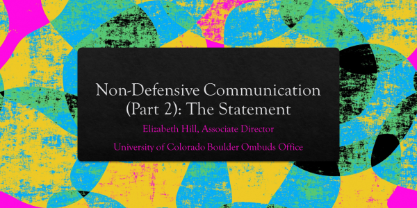 The title slide for Non-Defensive Communication (Part 2): The Statement