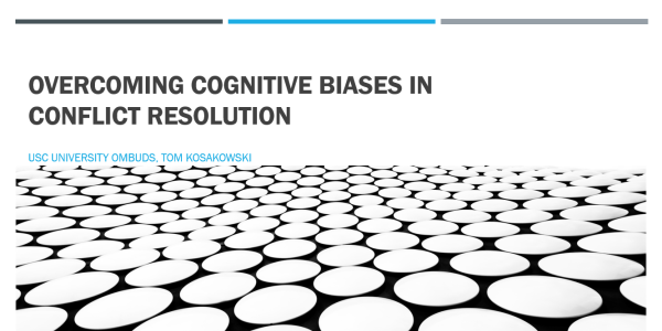 Title Slide for Lunch and Learn Presentation on the topic: Overcoming Cognitive Biases in Conflict Resolution