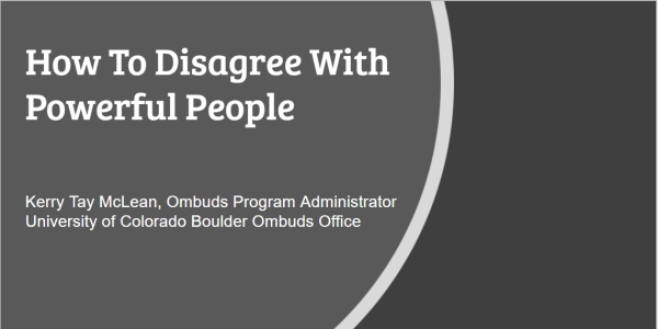 Title slide for presentation on How To Disagree With Powerful People