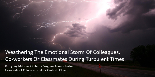 """Image is of two storm clouds with lightning arching out from them. This is the title slide for presentation on """"Weathering The Emotional Storm of Colleagues, Co-workers or Classmates During Turbulent Times"""