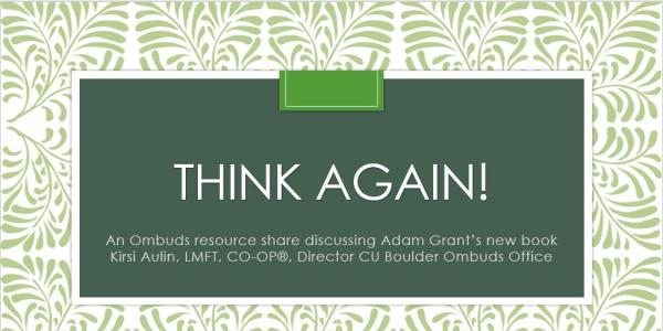 """Cover Slide for """"Think Again"""" Lunch and Learn presentation"""