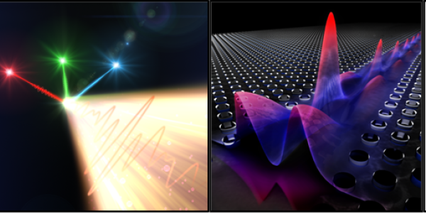Colorful illustrations of light waves.