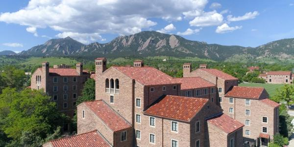 A scenic image of campus and the Flatirons