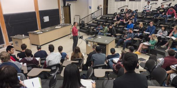 An instructor teaching a lecture class