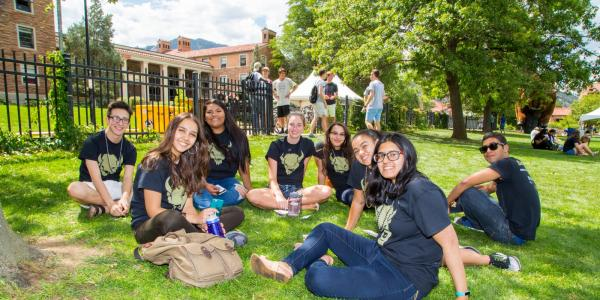 A group of students on campus