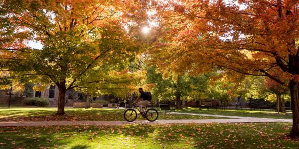 A student rides a bike through campus
