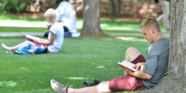 student reading on lawn