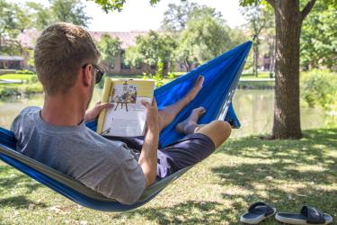 Student studying in hammock at CU Boulder