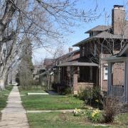 Sidewalk and houses