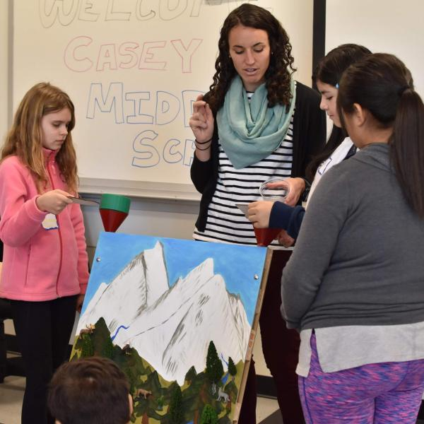 Students at Casey Middle School use an interactive mountain landscape.