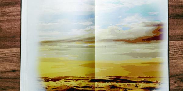A desert landscape in a notebook