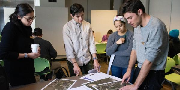Danielle Rivera with the student group she co-advises, the Rural Project, at a design charrette, a collaborative planning session with community members, designers and others.