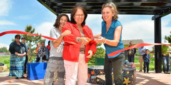 Beth Stade and community partners cut a ribbon at the Geometry Park in Lafayette