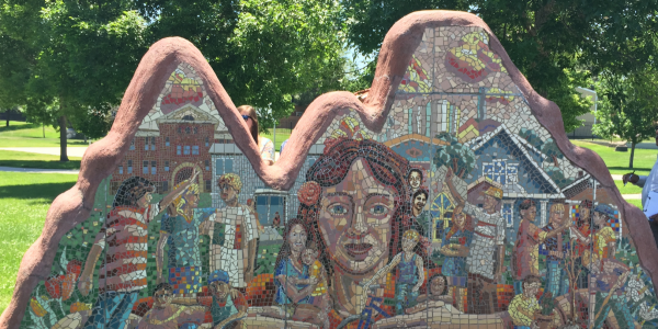 A mosaic artwork in Longmont, CO representing how the community came together after a tragic event.