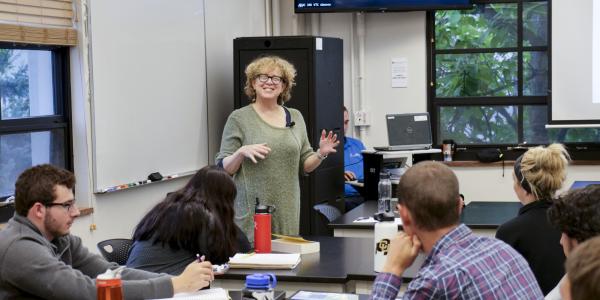 Nan Goodman, director of the program in Jewish studies, teaching CU Boulder students.